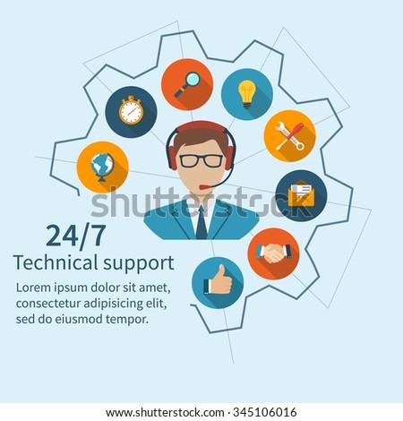 Customer service, technical support, call center. Vector illustration, flat design. - stock vector