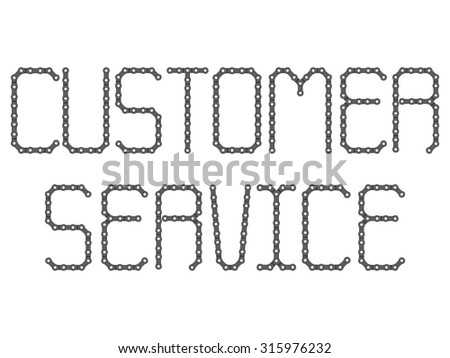 Customer service, the word was made by chain bike, realistic and high resolution on white background - stock vector