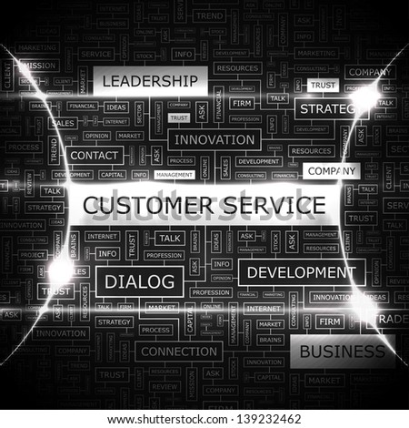 CUSTOMER SERVICE. Word cloud concept illustration. - stock vector