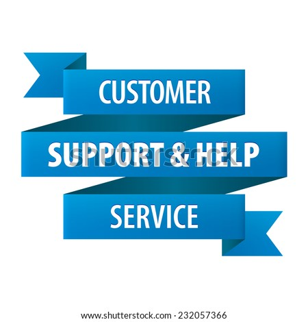 Customer Support and Help Service tag ribbon banner icon isolated on white background. Vector illustration