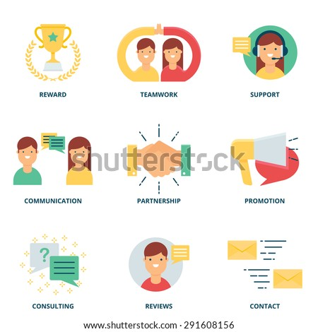 Customer support and management vector icons set modern flat style - stock vector