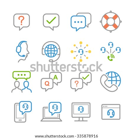 Customer support icons - stock vector