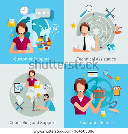 Customer support international service 4 flat icons square composition with counseling and technical assistance isolated vector illustration  - stock vector