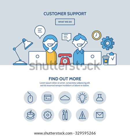 Customer support website hero image concept. One page website design with flat thin line icons. - stock vector