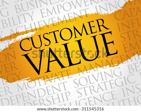 Customer Value word cloud, business concept - stock vector