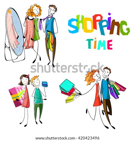 Customers in the shop or market.people shopping set. Hand drawn happy people with bags. Kids with presents. Boyfriend and girlfriend are buying. Couple is dressing a dress and tie. Vector illustration - stock vector