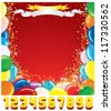 Customizable Greeting Card Template. Festive Birthday Background with Set of Shiny Numbers. - stock vector