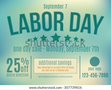 Customizable Labor Day sale postcard advertisement  - stock vector