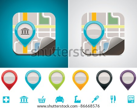 Customizable map location icon - stock vector
