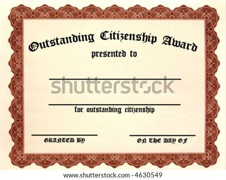 Customizable Outstanding Citizenship Award - stock vector