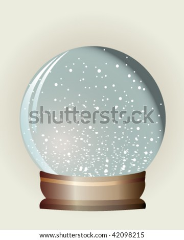 Customizable snow-dome with snowflakes against a neutral background