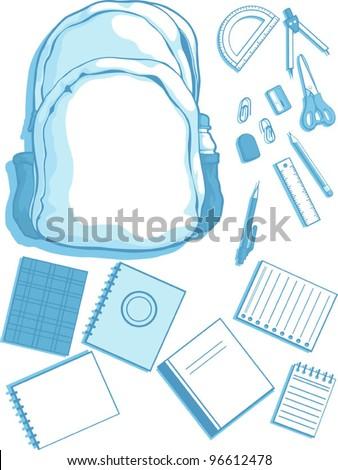 Customizable Vector Kits of School Bag and School Supplies - stock vector