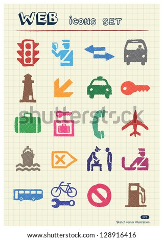 Customs and transport urban web icons set drawn by color pencils. Hand drawn vector elements pack isolated on paper