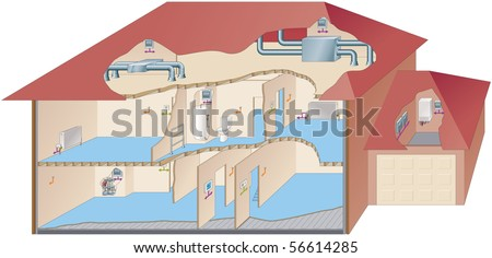 Cut away of house showing utilities, alarms, pipework etc - stock vector