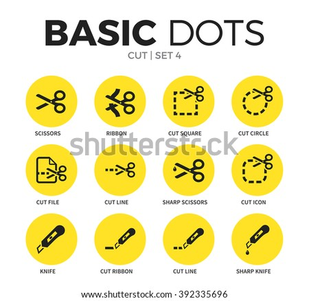 Cut flat icons set with scissors form, cut line form and cut file form isolated vector illustration on white - stock vector