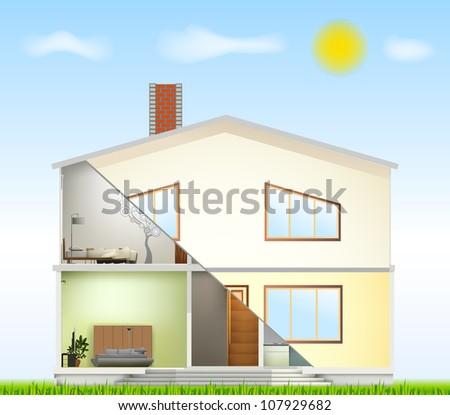 Cut in house interiors and part facade. Vector - stock vector