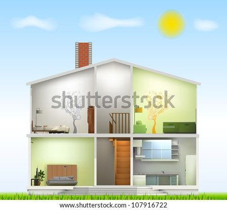 Cut in house interiors. Vector - stock vector