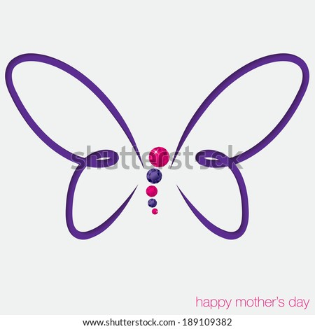 Cut out butterfly card with gems in vector format. - stock vector