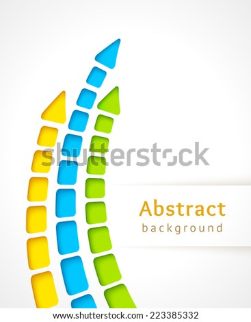 Cut out color stripes with arrow, vector. Design template. - stock vector