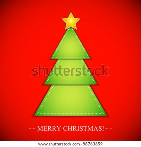 Cut out paper in the shape of Christmas Tree with Star. Vector Illustration.