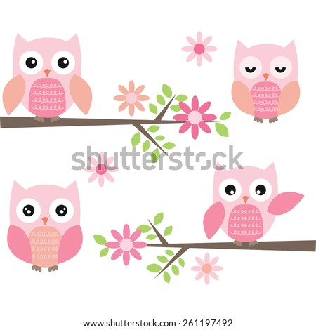 Cut Owl and Branches - stock vector