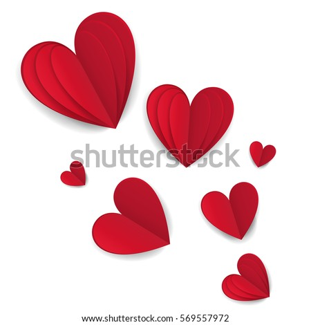 Cut Paper Red Valentine Hearts Abstract Composition. Vector Illustration