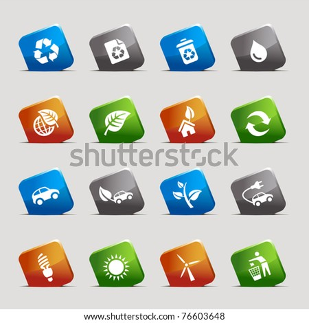 Cut Squares - Ecological Icons - stock vector