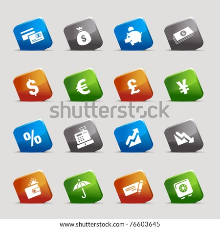 Cut Squares - Finance icons - stock vector