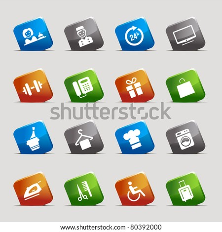Cut Squares - Hotel icons - stock vector