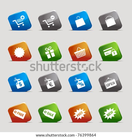 Cut Squares - Shopping icons - stock vector