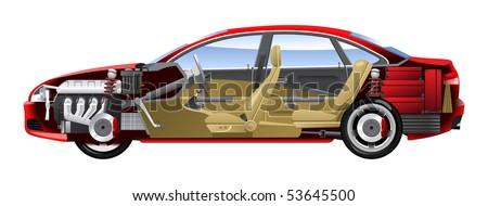Cutaway Car Illustrations. (Simple gradients only - no gradient mesh.) - stock vector