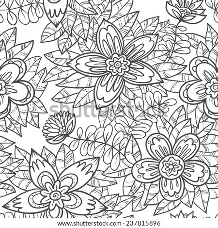 Cute abstract floral seamless pattern - stock vector