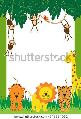 Cute, abstract frame with cheerful tropical animals - stock vector