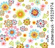 cute abstract seamless floral pattern. Colorful vector illustration - stock photo