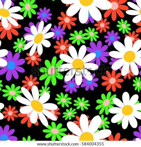 cute abstract seamless pattern colorful chamomile stock vector rh shutterstock com vector flower pattern free vector flower pattern cdr