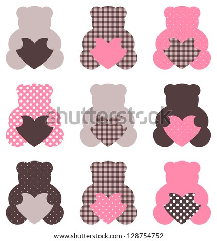 Cute abstract Teddy retro set ( brown & pink ) - stock vector