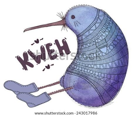 Cute abstract watercolor doodle kiwi bird - stock vector
