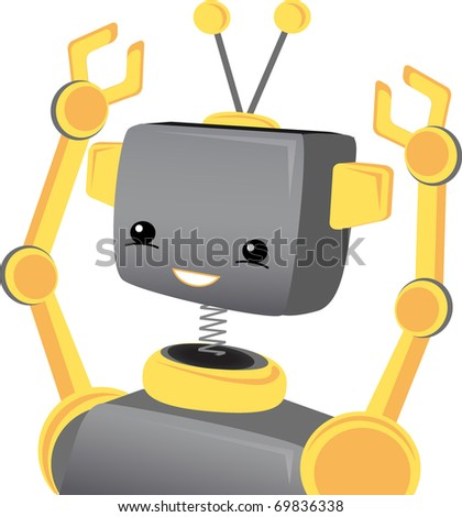 Cute Adorable child robot smiling and cheering with raised arms editable vector illustration