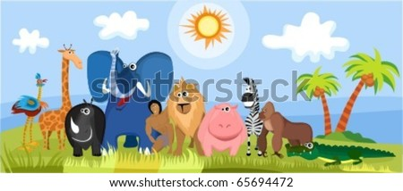 cute Africa animals - stock vector