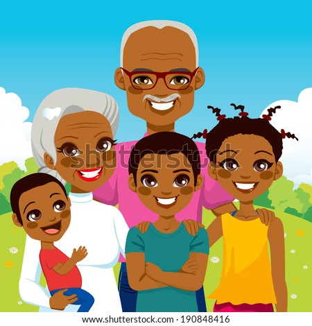 Cute African American Grandparents With Grandchildren family together on park smiling happy - stock vector