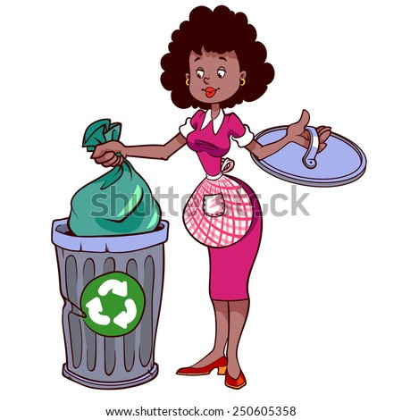 Image result for cartoon of a woman with garbage