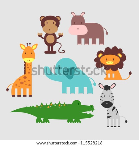 Cute African animals set - stock vector