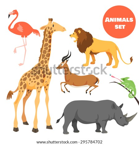 Cute african animals set for kids in cartoon style. Suitable for logotype or emblem. Vector illustration - stock vector
