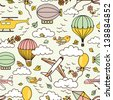 Cute air seamless pattern with hot air balloons, birds and clouds - stock vector