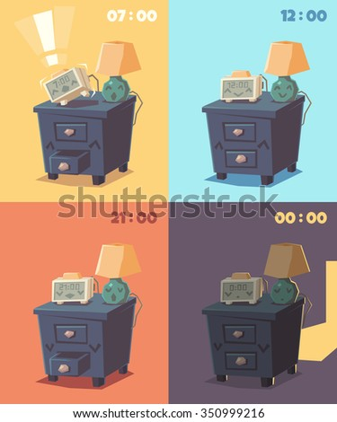 Cute alarm clock at different times of day. Vector illustration. - stock vector