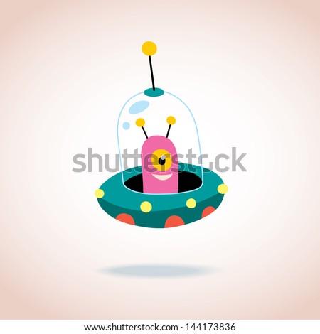 cute alien character - stock vector