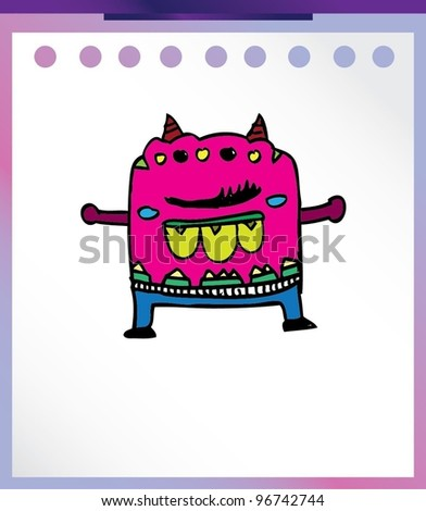 cute alien monster magenta pink - vector illustration - stock vector