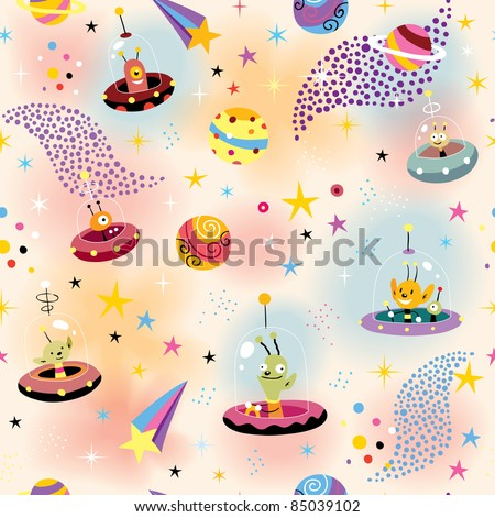 cute aliens in space pattern - stock vector