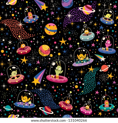 cute aliens pattern - stock vector