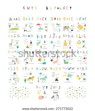Cute alphabet. Letters and words. Flora, fauna, animals. Learn to read. Isolated. - stock vector